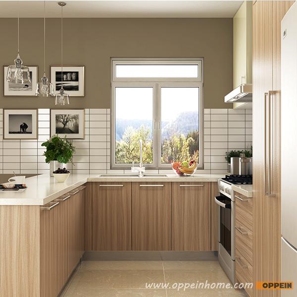 Wood Grain Kitchen Cabinets: OPPEIN Kitchen In Africa » OP16-M01: Modern Wood Grain