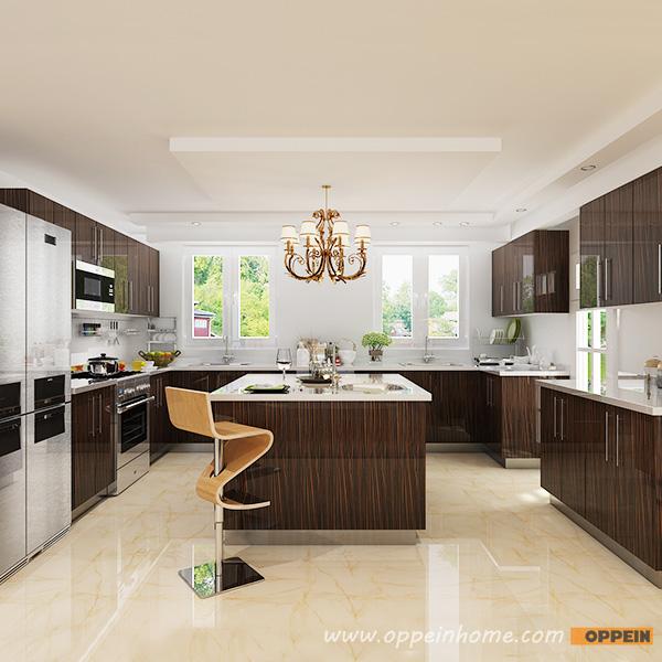 Modern Wood Grain Kitchen: OPPEIN Kitchen In Africa » OP15-HPL07: Modern High Gloss