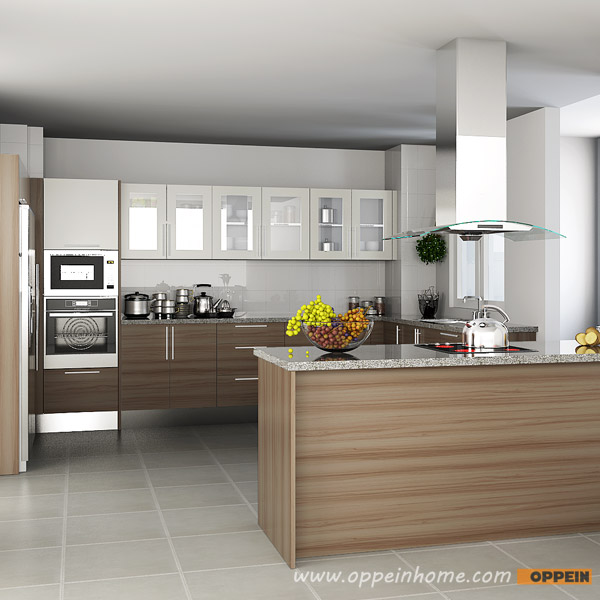 OPPEIN Kitchen In Africa » OP15-M04: Contemporary Melamine Kitchen Cabinet