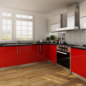 L-shaped-kitchen cabinets