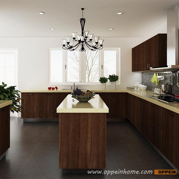 Kenya Fashionable Customized Melamine And Hpl Kitchen: OPPEIN Kitchen In Africa » OP14-PVC04: Modern Wood Grain