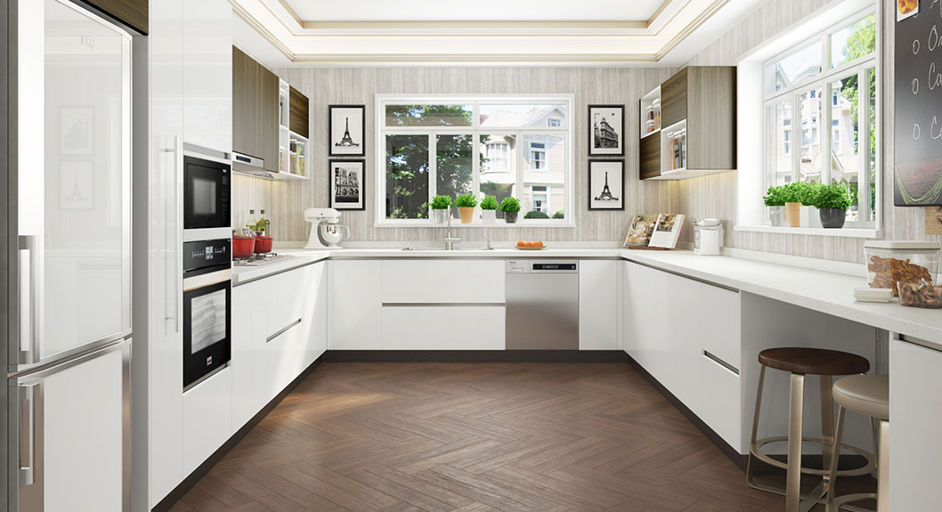 Oppein Kitchen In Africa 187 Large U Shaped White Laminate