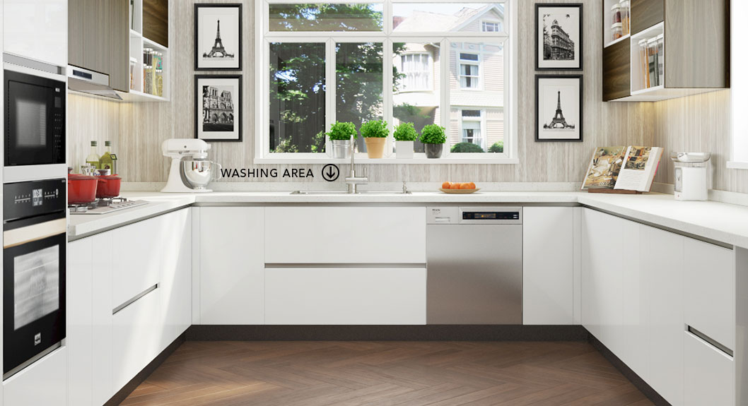 Oppein Kitchen In Africa 187 Large U Shaped White Laminate