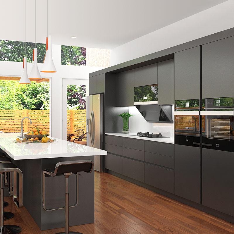 Kenya Fashionable Customized Melamine And Hpl Kitchen: OPPEIN Kitchen In Africa » Black Lacquer Kitchen Cabinet