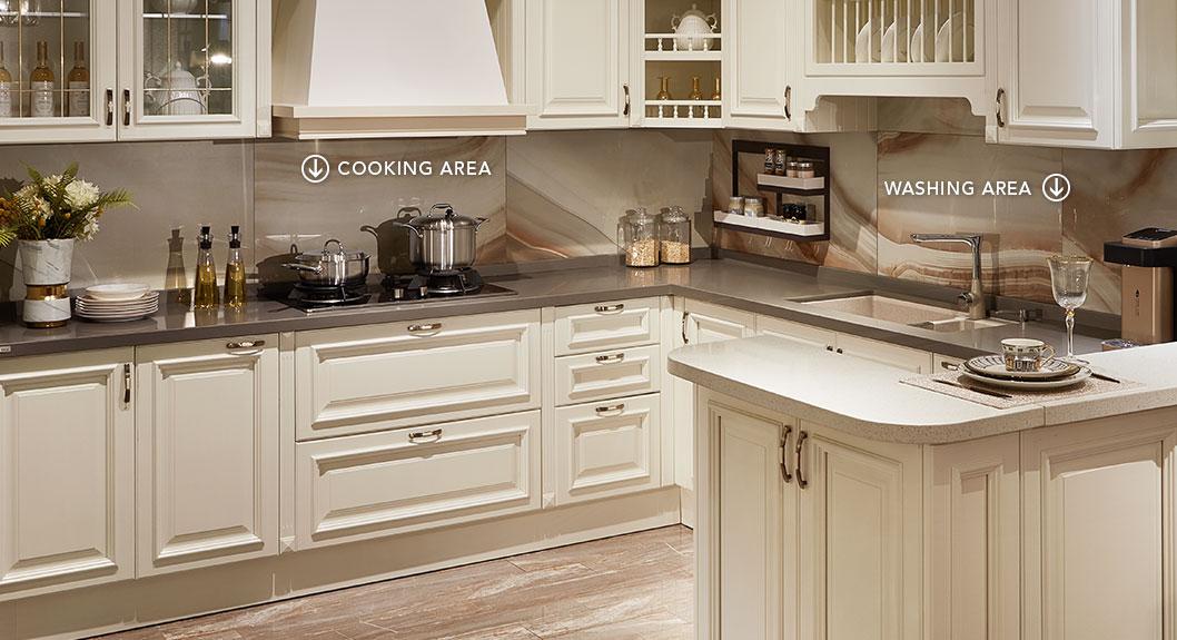 Oppein Kitchen In Africa White Poplar Wood U Shaped Kitchen