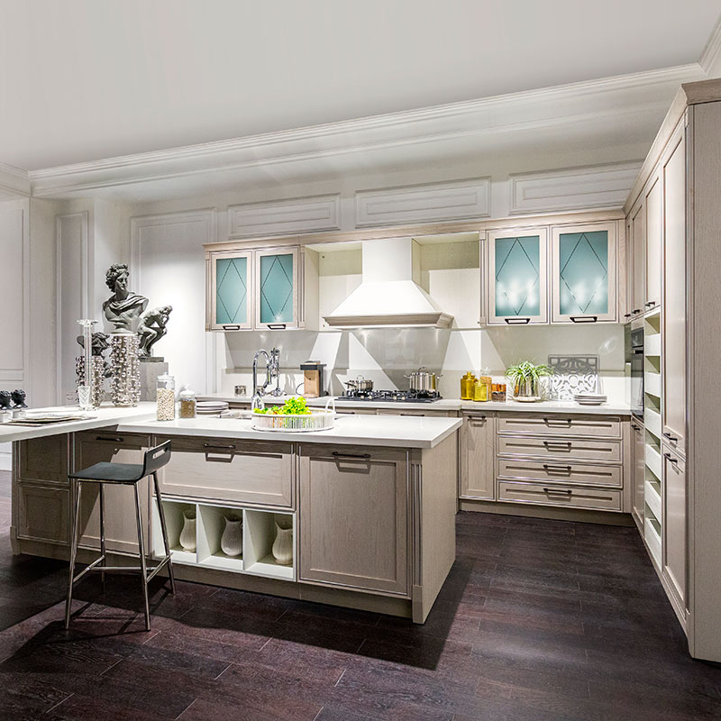 OPPEIN Kitchen In Africa » Solid Wood L-Shaped Kitchen