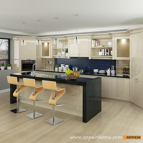 Oppein Kitchen In Africa Modern Light Yellow High Gloss Lacquer Kitchen Cabinet Op16 L12