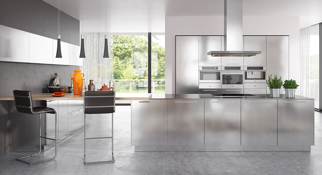 Modern Clean Lines Stainless Steel Kitchen Cabinet OP17-S30 (2)