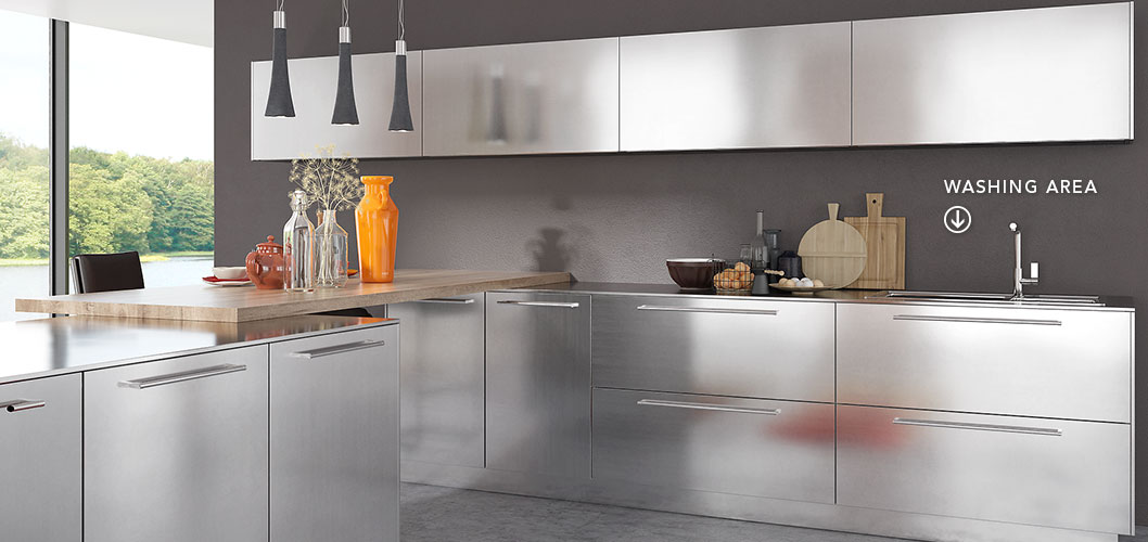 Modern Clean Lines Stainless Steel Kitchen Cabinet OP17-S30 (5)