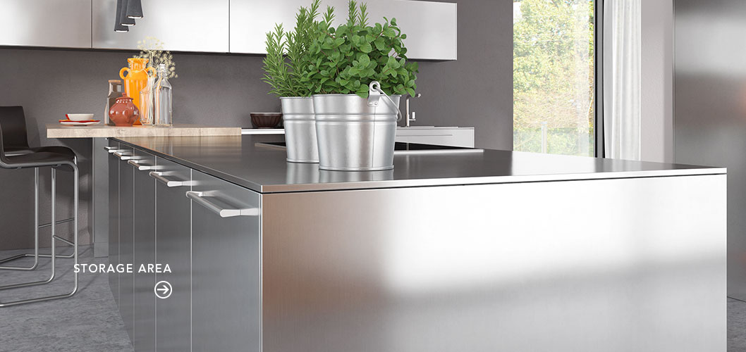 Modern Clean Lines Stainless Steel Kitchen Cabinet OP17-S30 (6)