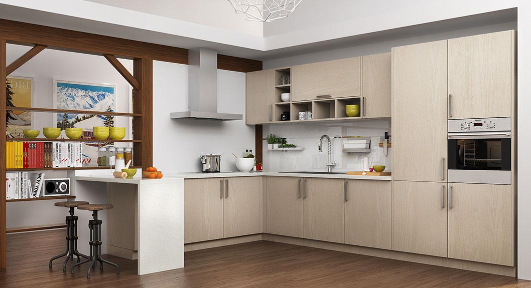 Modern Light Wood Grain Kitchen Cabinet OP16-M07 (2)