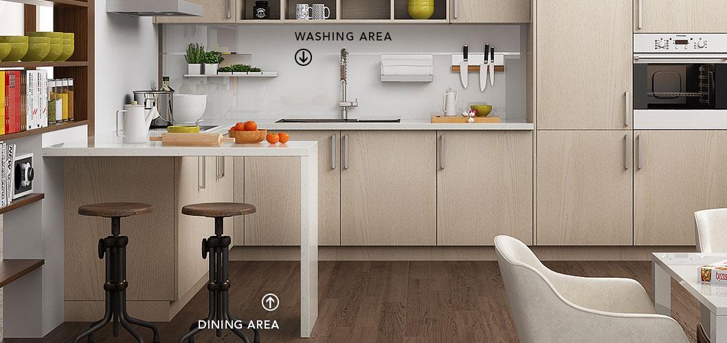 Modern Light Wood Grain Kitchen Cabinet OP16-M07 (3)