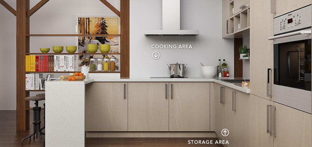 Modern Light Wood Grain Kitchen Cabinet OP16-M07 (4)
