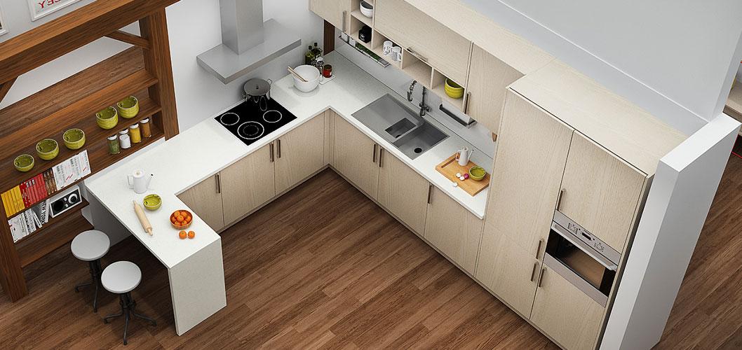 Modern Light Wood Grain Kitchen Cabinet OP16-M07 (5)