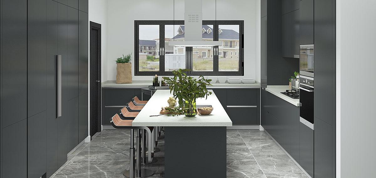 OPPEIN Kitchen In Africa » Modern Black Lacquer Kitchen