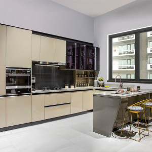 Modern-Flat-Laminate-Beige-U-Shape-Kitchen