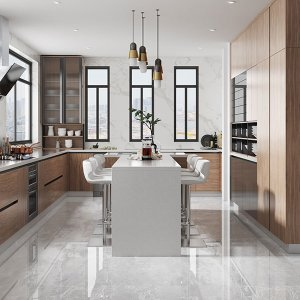 Comtemporary-Wood-Veneer-Kitchen-Cabinet-With-Island-OP20-018