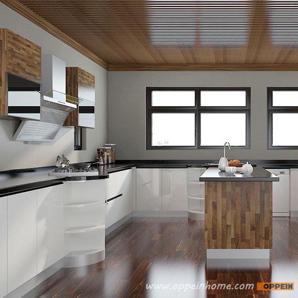 Kitchen Set Hpl Glossy: OPPEIN Kitchen In Africa » OP15-A07:Modern White High