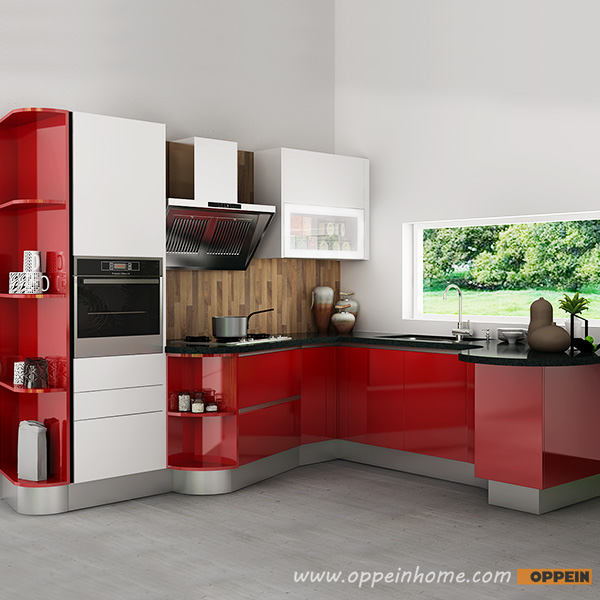 Red High Gloss Kitchen: OPPEIN Kitchen In Africa » OP15-L37: Modern Red High Gloss