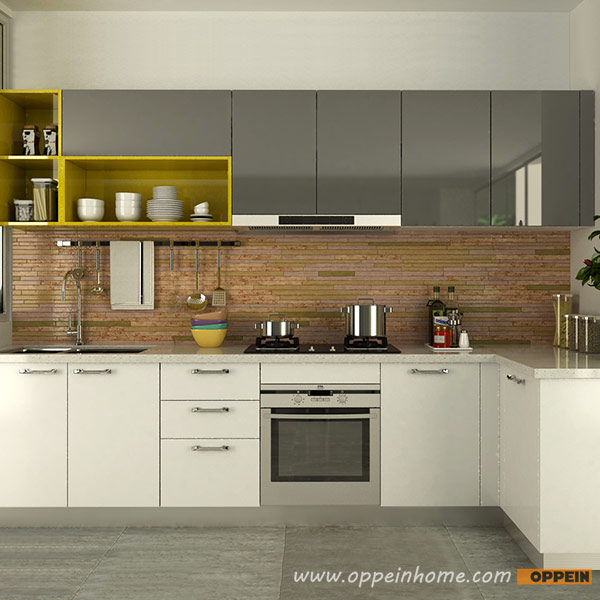 Oppein Kitchen In Africa Op15 A06 Modern White And Gray High Gloss Acrylic Kitchen Cabinet
