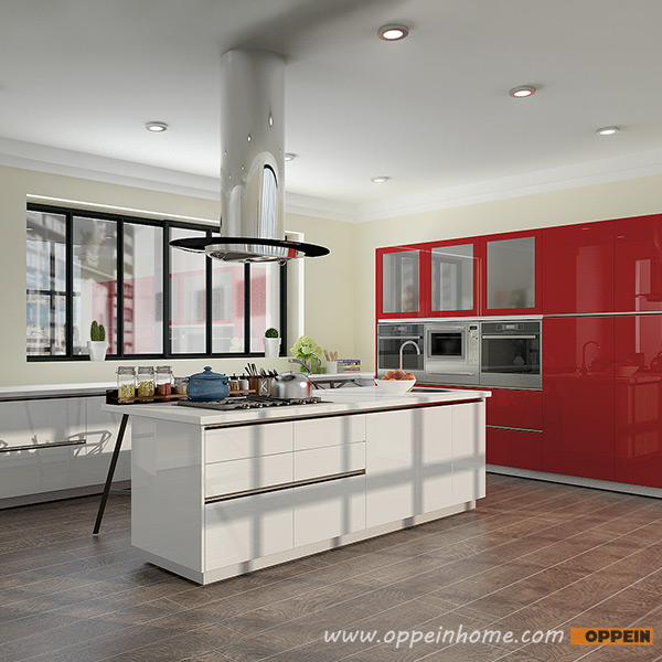 OPPEIN Kitchen In Africa » OP16-L13: Modern White And Red