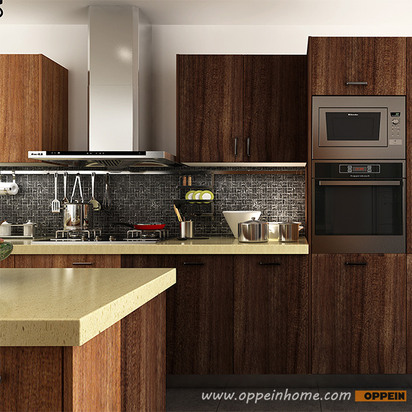 Modern Wood Kitchen Cabinets: OPPEIN Kitchen In Africa » OP14-PVC04: Modern Wood Grain