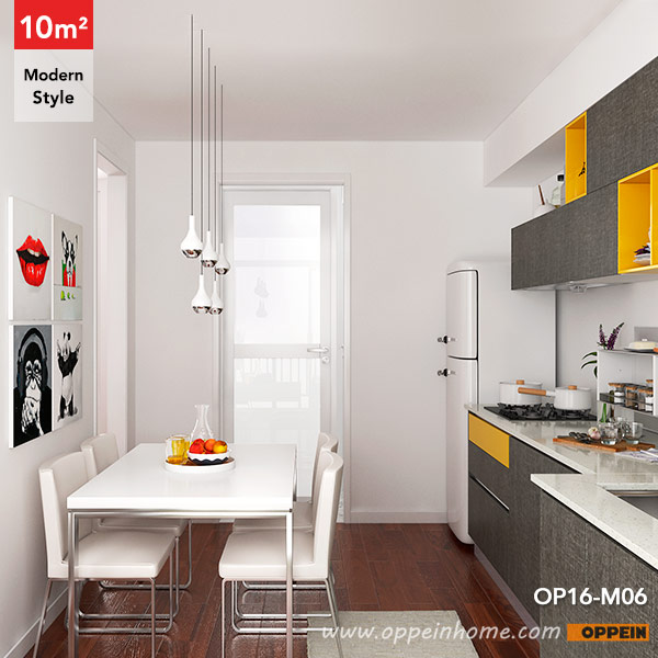 OP16 M06: 10 Square Meters Straight Line Modern Style Kitchen Design