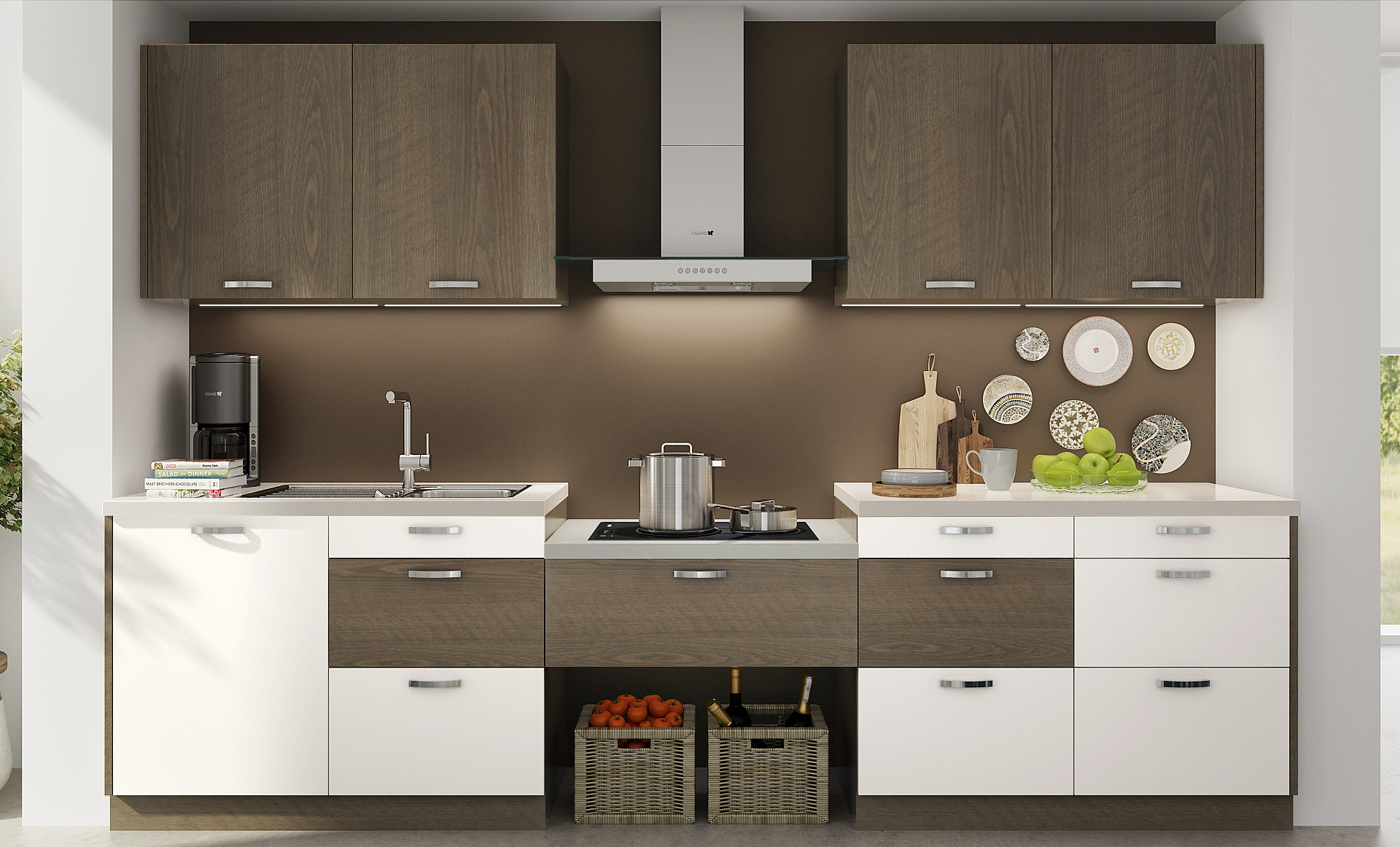 Oppein Kitchen In Africa 187 Op17 M06 White And Wood Grain