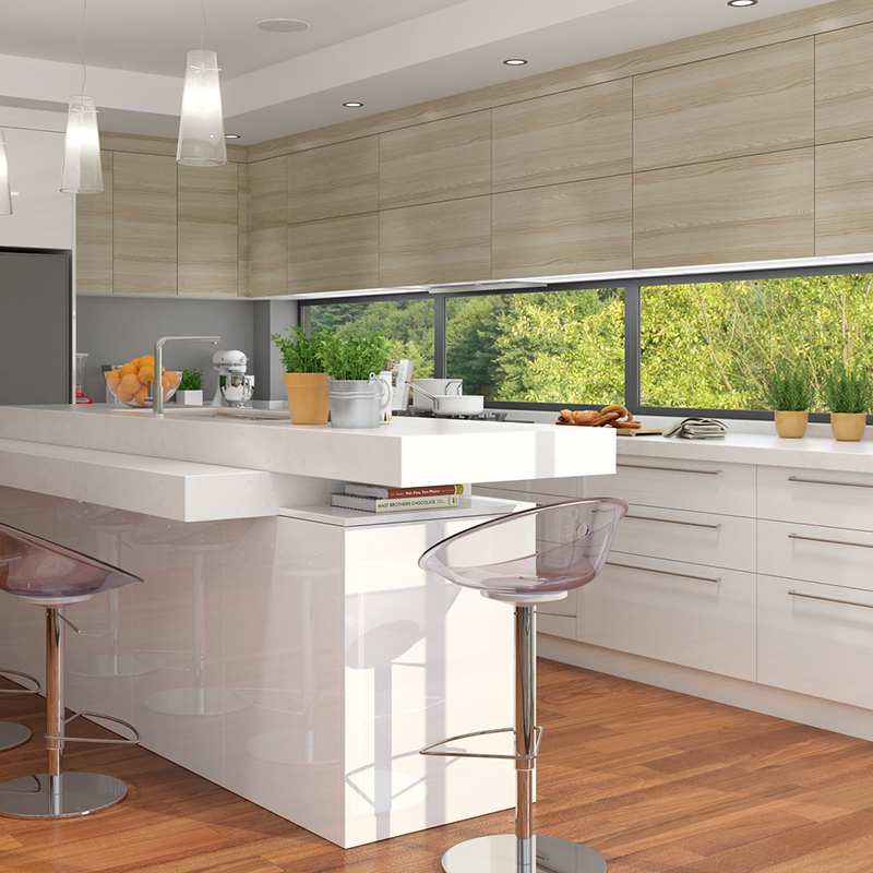 White Kitchen L Shape: OPPEIN Kitchen In Africa » OP17-L15: White And Wood Grain