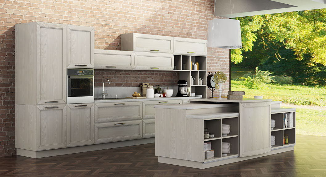 Oppein Kitchen In Africa Transitional Natural Ash Solid Wood Kitchen Cabinet Op14 106