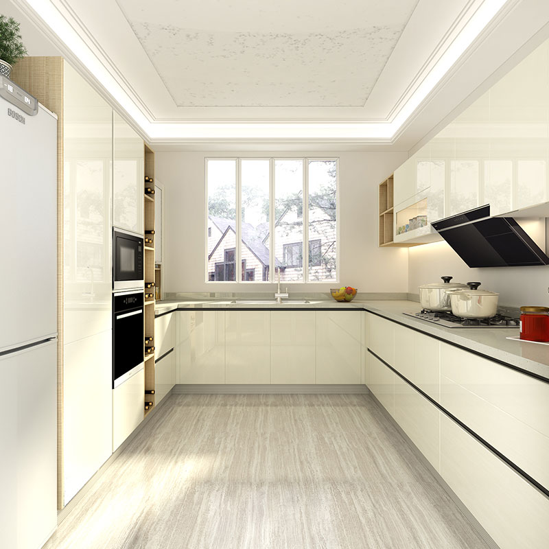 White Lacquered Kitchen Cabinetry: OPPEIN Kitchen In Africa » Small U-Shaped White Lacquer