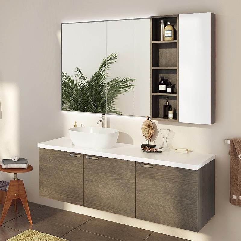 Oppein Kitchen In Africa Wood Grain Melamine Bathroom Cabinet Bc17 M02