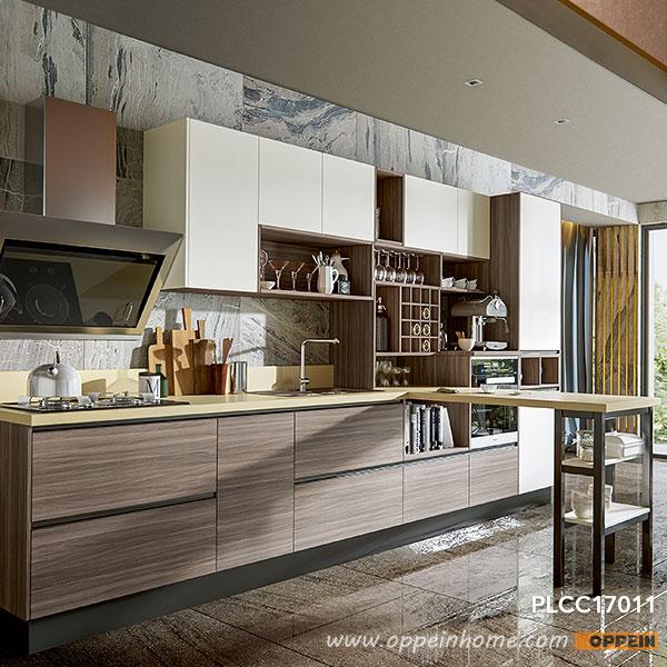 Wood Laminate Kitchen Cabinets: OPPEIN Kitchen In Africa » Wood Grain Laminate T-Shaped