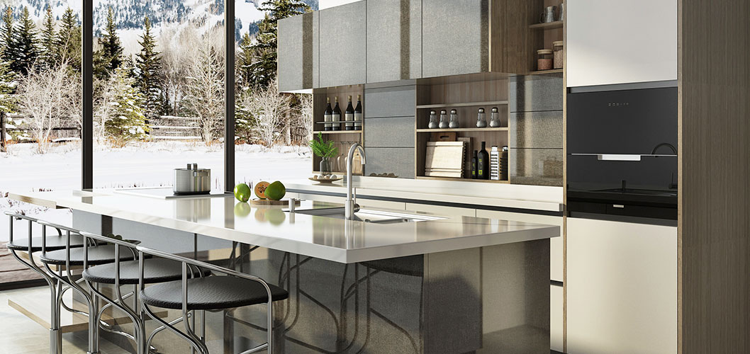 OPPEIN Kitchen in africa » Grey Laminate and White Lacquer ...