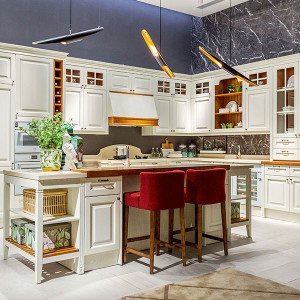 White-L-Shape-Solid-Wood-Kitchen-Cabinet-With-Island-PLCC19102