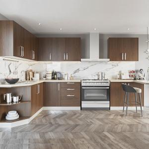 Melamine-L-Shape-Dark-Wood-Grain-Kitchen-PLCC19123A