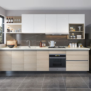 I-Shape-kitchen-Cabinet-with-Lacquer&Melamine-OP19-L08