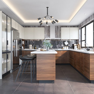 Large-Wood-Grain&White-Melamine-Kitchen-With-Island-OP19-M03