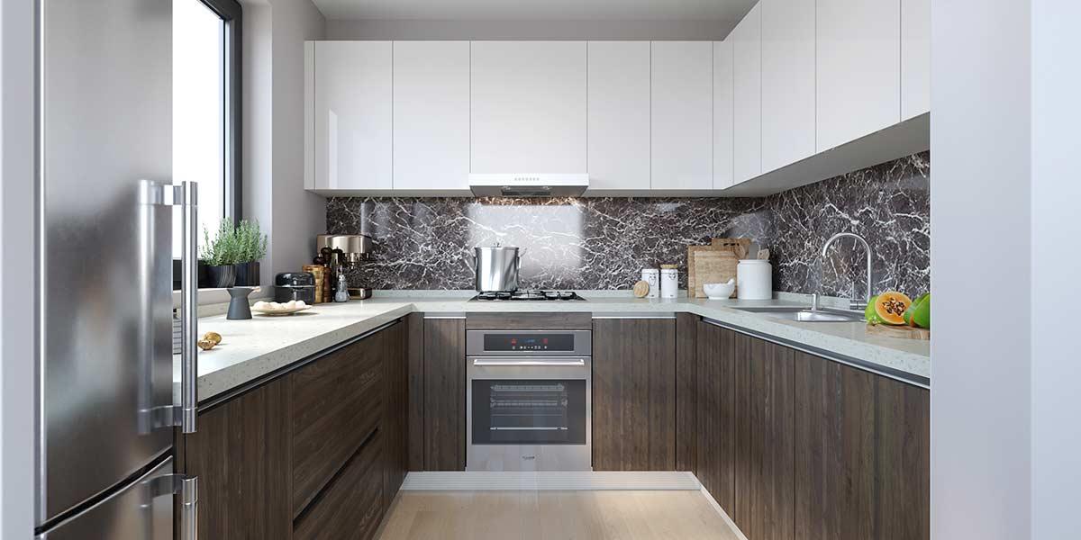 Oppein Kitchen In Africa U Shape Mixture Kitchen Cabinet Laminate Lacquer Op19 Hpl02