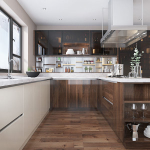 Wood-Brown-High-Gloss-UV-Lacquer-Kitchen-Cabinet-OP19-L09