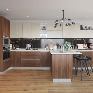 Irregular-Shape-Melamine-Kitchen-With-Island-OP19-M06