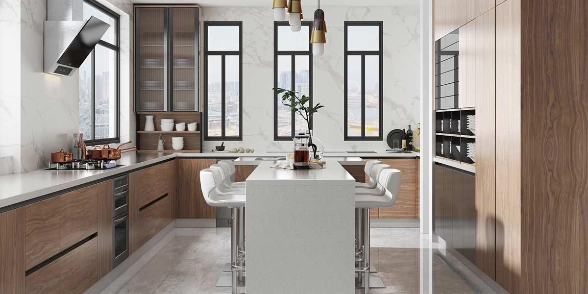 Comtemporary-Wood-Veneer-Kitchen-Cabinet-With-Island-OP20-018(2)