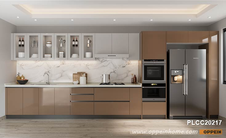 Oppein Kitchen In Africa Simple Brown, Full Wall Kitchen Cabinets